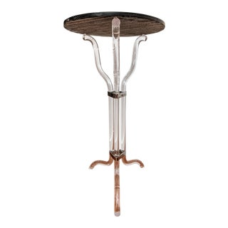Sculptural Lucite and Slate Plant Stand / Pedestal For Sale