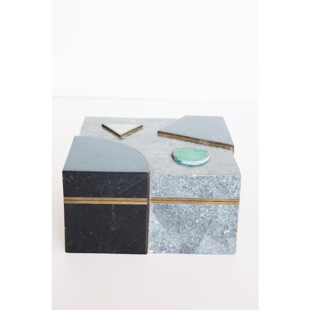 Maitland-Smith Stone & Brass Box For Sale - Image 5 of 7