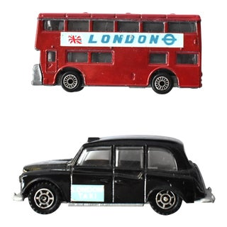 Vintage Persaud London Doubledecker Bus and Taxi Cab Toy Cars - Set of 2 For Sale