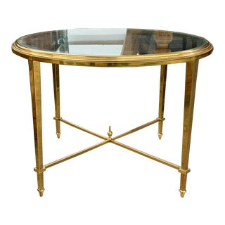 Mid Century Solid Brass Side Table For Sale