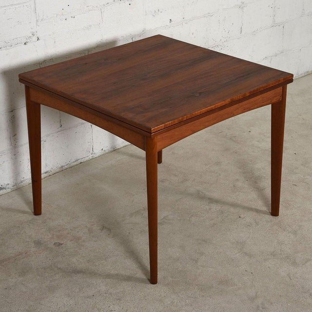Danish Modern Danish Modern Teak Square to Rectangle Dining / Game Table For Sale - Image 3 of 7