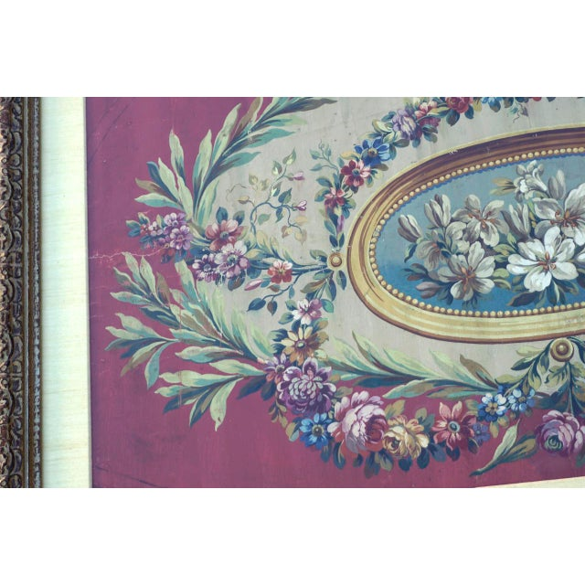 French Framed 18th Century Floral Aubusson Carton For Sale - Image 3 of 9