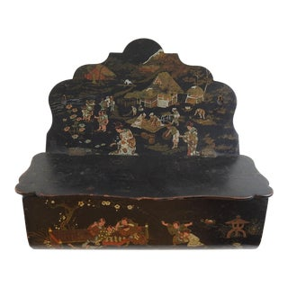 Chinoiserie Paper Mache Wall Pocket For Sale