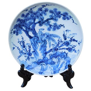 Chinese Blue & White Porcelain Birds Tree Charger For Sale