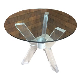 1960s Vintage Lucite and Glass Petite Dining Table For Sale