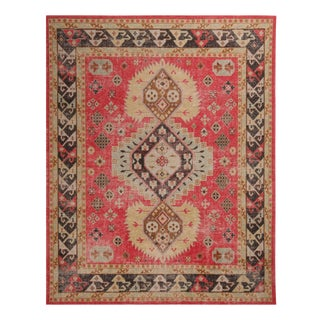 Fiery Red and Bright Gold Wool Rug From Rk Distressed Collection 7′11″ × 9′10″ For Sale