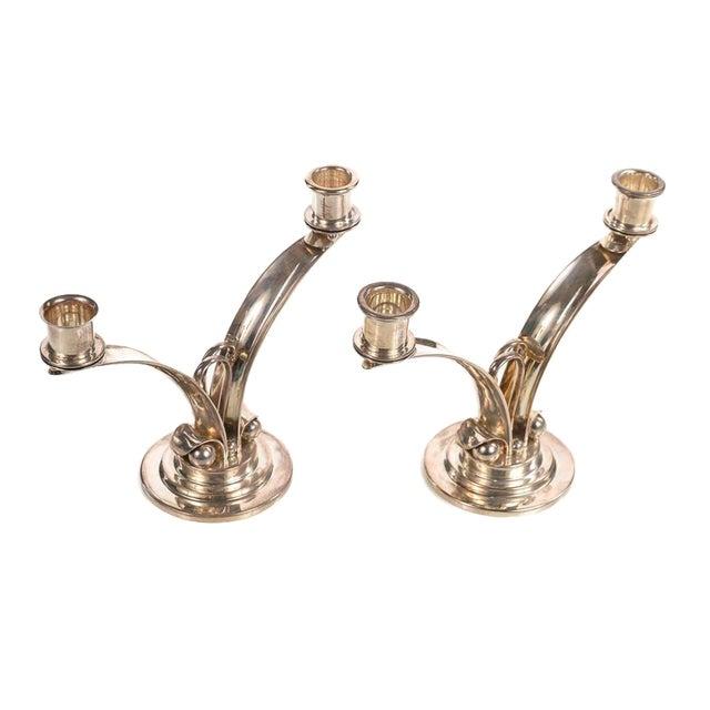 Sterling 925 Modernist Designer Candlesticks - a Pair For Sale