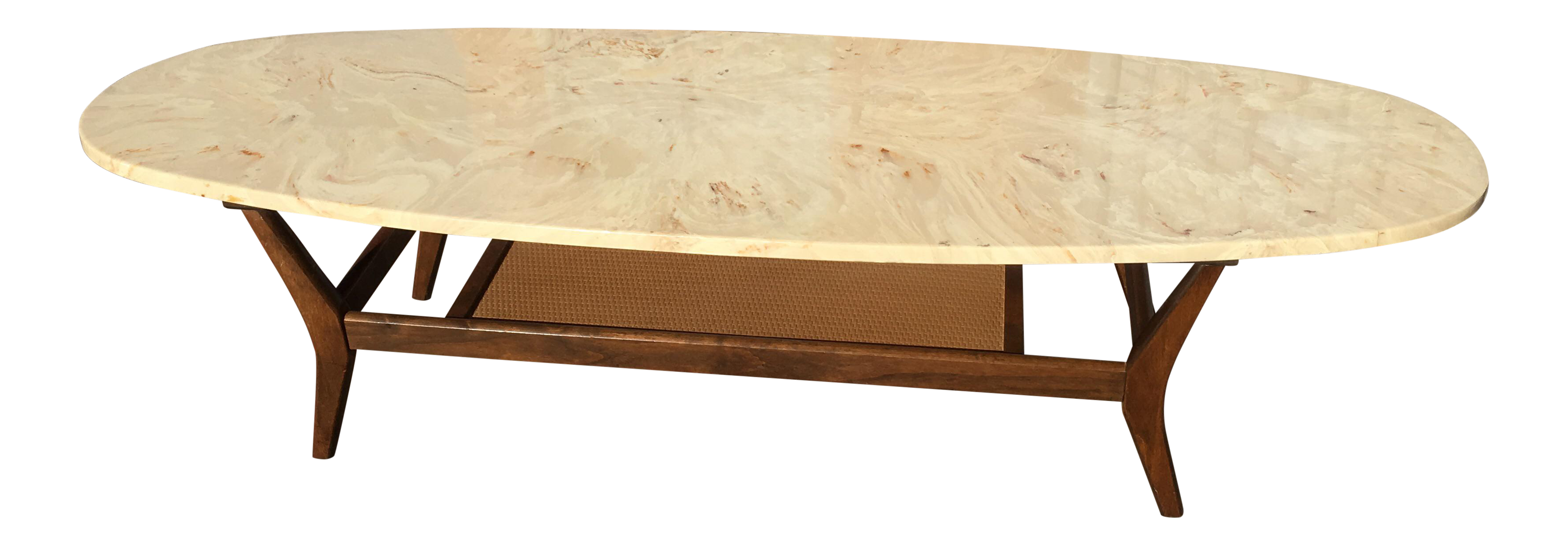 Delightful Mid Century Modern Marble Surfboard Coffee Table