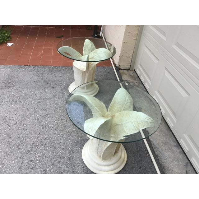 1990s Vintage Glass Top Tables With Floral Style Bases - a Pair For Sale - Image 5 of 9