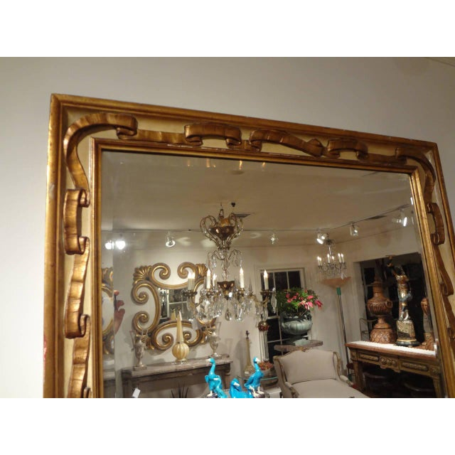 Italian Italian Rectangular Painted and Gilt Wood Beveled Mirror For Sale - Image 3 of 9
