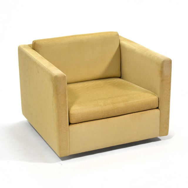 Charles Pfister's classic cube chair is a terrific minimalist design with its understated form and floating appearance....
