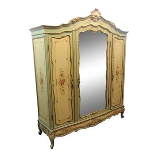 Italian 3 Door Carved & Paint Decorated Armoire For Sale