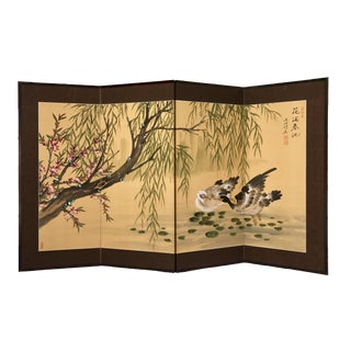 Vintage Mid Century Asian Byobu Folding Panel Painting For Sale