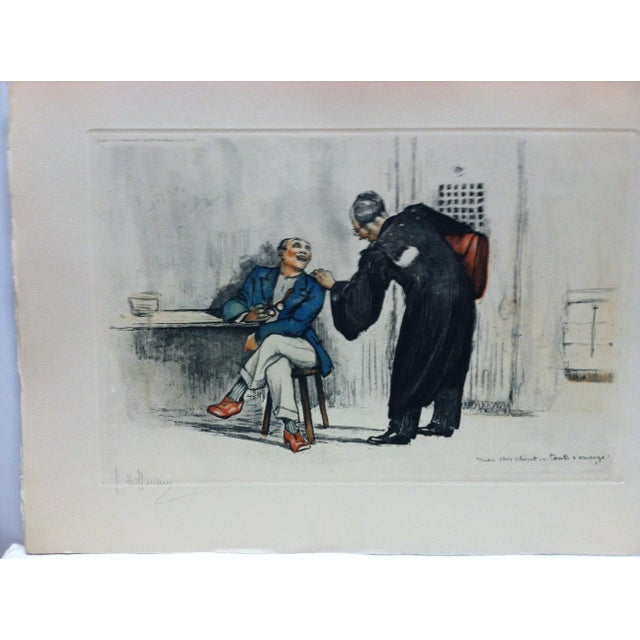 "This is a Vintage Hand-Colored Print that is titled ""The Lawyer"" by G. Hoffmann. The Print is dated around 1930. The Print..."