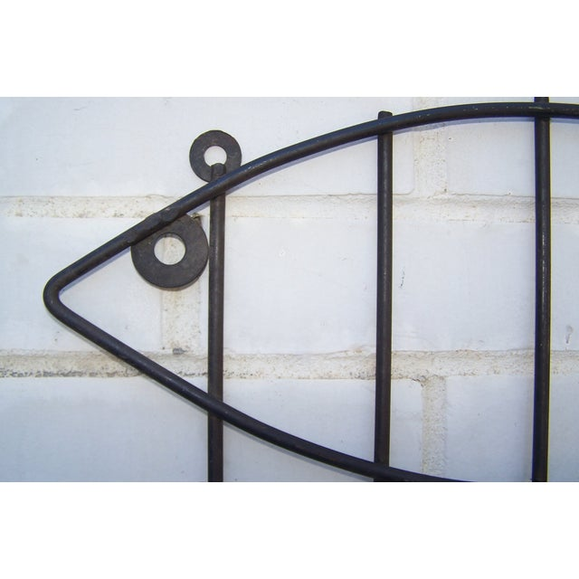 Vintage Pair Iron & Wood Fish Coat Hooks - 2 - Image 4 of 7