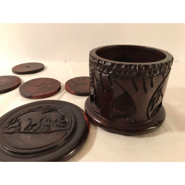 20th Century Safari Wooden Carved Rhino Coaster Set - 8 Pieces For Sale - Image 10 of 13
