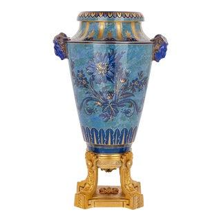 Sevres Blue Porcelain Urn on a Gilt Bronze Plinth For Sale