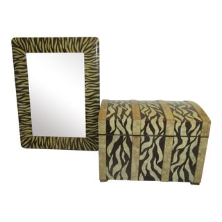 Maitland-Smith Crushed Eggshell Trunk and Mirror - 2 Pieces For Sale