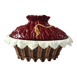 Late 19th Century Antique Majolica Trompe l'Oeil Basket For Sale