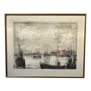 "Mid 20th Century ""Port De La Mer Du Nord"" Lithograph After Bernard Gantner For Sale"