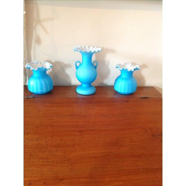 Blue Matte Ruffled-Edged Glass Vases - S/3 - Image 3 of 6