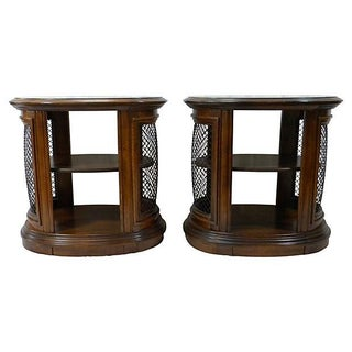 Oval Two-Tiered Side Tables - A Pair
