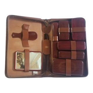 1950's Vintage Men's Travel Grooming Set in Leather Cowhide Case For Sale