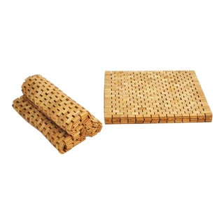 Teak Placemats Handmade Set of Two 2 Pair Wood Natural For Sale