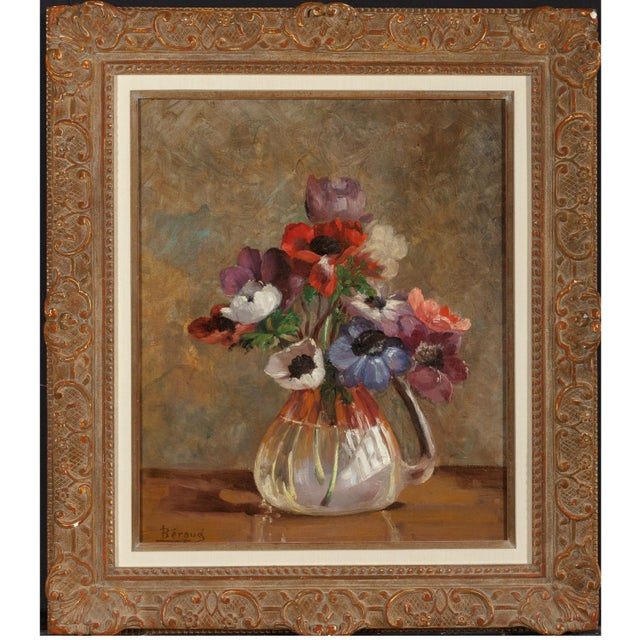 Poppies in Glass Vase Still Life Oil on Canvas Painting French Beraud Early 20th Century - Image 2 of 5