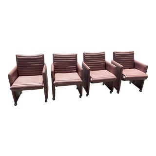 Vintage Kagan Style Leather Chairs - Set of 4 For Sale