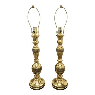 Post War Japanese Brass Table Lamps in James Mont by Marbro - a Pair For Sale