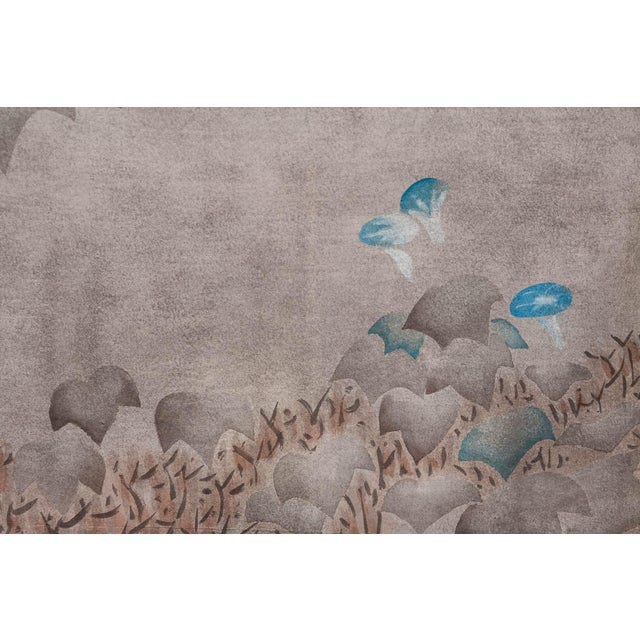 """Japanese Sung Tze-Chin Large Chinoiserie Hanging Screen Ink on Paper """"Brushed Wood Fence With Chrysanthemum"""" 11 Feet Wide by 6 Feet Height For Sale - Image 3 of 11"""