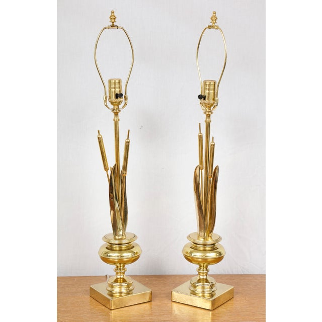 Gold Pair of Brass Cattail Lamps For Sale - Image 8 of 8