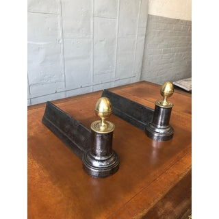 19th Century Empire Style Iron Andirons With Brass Finials - a Pair Preview