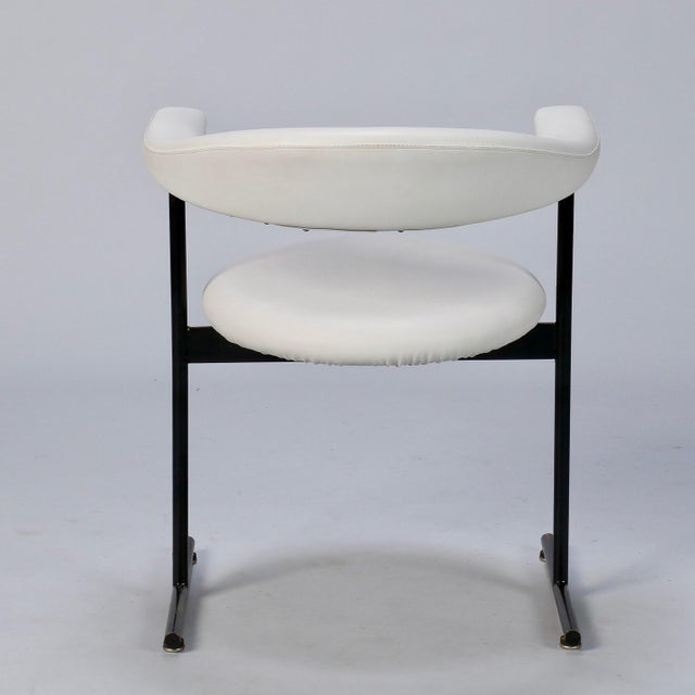 1980s Mid-Century Streamlined Arm Chairs with Black Metal Frames- Set of 6 For Sale - Image 5 of 9