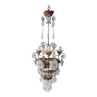 1930s Blue Murano Opaline Drops Bobeches & Beads Sconces For Sale