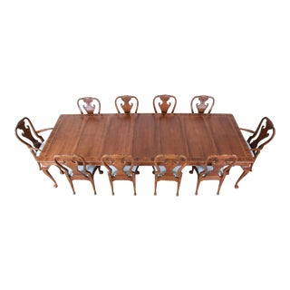 Baker Furniture Stately Homes Collection Chippendale Walnut Dining Set, Restored For Sale