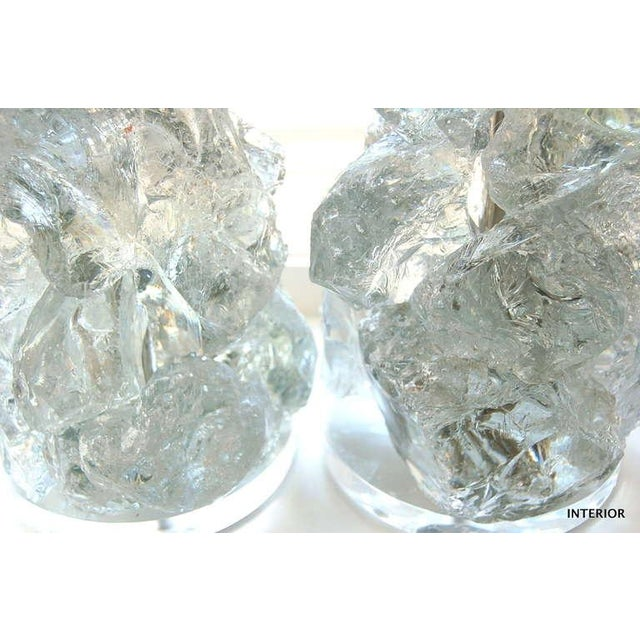Metal Glass Rock Table Lamps by Swank Lighting Clear Ice- A Pair For Sale - Image 7 of 9