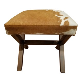 Animal Hide Wooden Base Footstool Ottoman