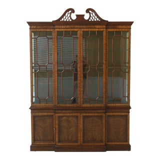 Henkel Harris Model 2368 Mahogany Breakfront China Cabinet For Sale