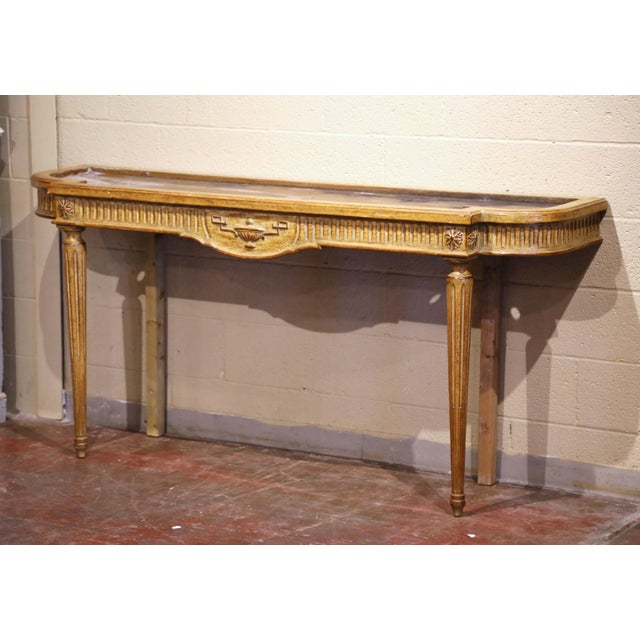 Midcentury French Louis XVI Carved and Painted Console Table With Marble Top For Sale - Image 10 of 12
