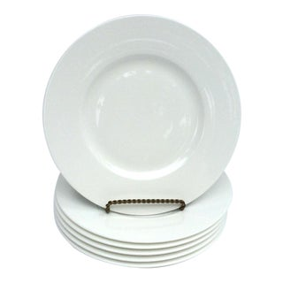 "S/6 Vintage Villeroy & Boch ""Royal"" White Bone Porcelain Salad Plates - Set of 6 Matching For Sale"