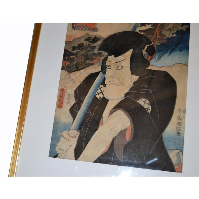 Utagawa Toyokuni III Japanese Gilt Framed Woodblock Print Parchment Paper C. 1857 For Sale In Miami - Image 6 of 13