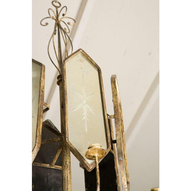 1920s Italian Etched Mirror Panel Hanging Candlestick Chandeliers For Sale - Image 5 of 11
