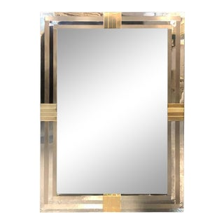 Steel and Brass Hollywood Regency Wall or Console Mirror Manner of Maison Jansen For Sale