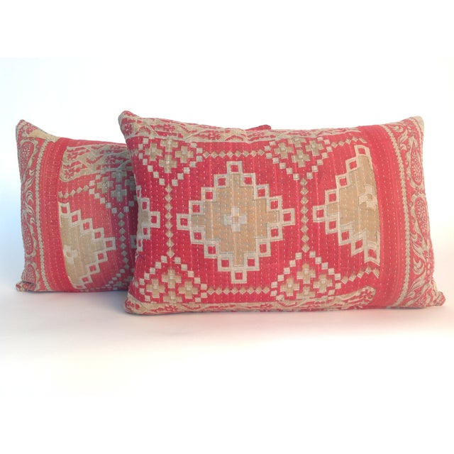 A pair of Indian vintage block printed quilt pillows with natural linen back and hidden zipper. Inserts included.