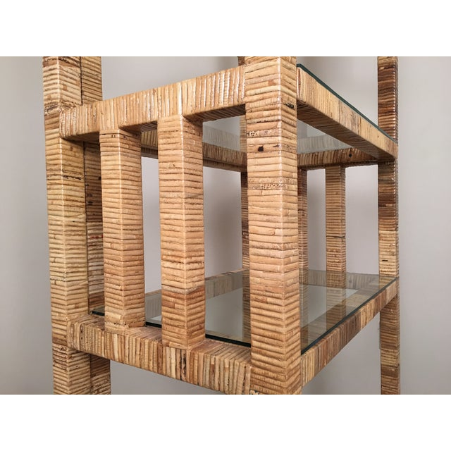 Billy Baldwin Style Wrapped Rattan Etagere - Image 6 of 10