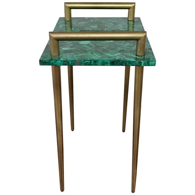 Malachite Stone & Metal Handle Side Table - Image 3 of 5