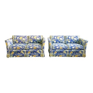 Vintage Pair of Matching Century Furniture Chinoiserie Style Tuxedo Style Loveseats For Sale