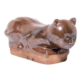 Early 20th Century Chinese Brown Cat Headrest For Sale